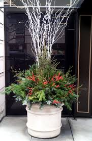 holiday winter decor containers planters evergreens