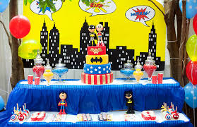 party table justice league kids party table decor party birthday ideas