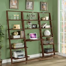 Bookcase Decorating Ideas Living Room Furniture Charming Wooden Leaning Bookcase In White And Four Tier