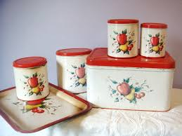 apple kitchen canisters 1950 s 6 set of canisters tray and bread box apple design