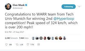 Speed Of Light In Miles Per Hour Elon Musk U0027s Tesla Hyperloop Pod Breaks Speed Record Daily Mail