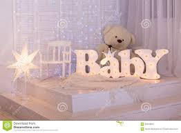 baby room with toy basket and teddy bear royalty free stock images