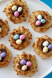 coconut eggs easter coconut macaroon easter egg cookies delicious table