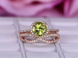 peridot engagement rings 2 pcs 7mm cut peridot engagement ring 14k gold diamond