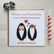 personalised you re my penguin anniversary card folksy