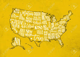 Us Maps With States Vintage Usa Map With States Inscription California Florida