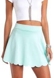 light blue skater skirt charlotte russe scalloped high waisted skater skirt where to buy