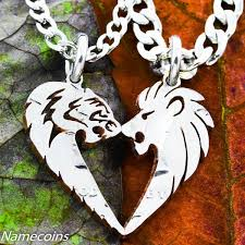 couple love heart necklace images Heart shaped animal necklace sets for couples namecoins jpeg