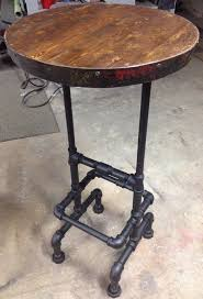 reclaimed wood pub table sets industrial pipe wine barrel ring reclaimed wood top raised bar