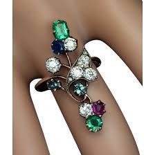 antique art nouveau gemstone flower ring diamond emerald sapphire
