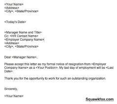 format for a letter of resignation resignation letter format
