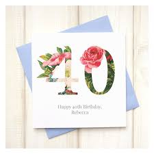 personalised floral 40th birthday card chi chi moi