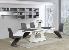 Gloss White Dining Table And Chairs Dining Room Dining Tables Contemporary Room Cool Stainless Steel
