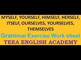 reflexive pronouns exercise english grammar exercises with