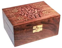 carved wooden box brass trim holds 12 essential oils pagan