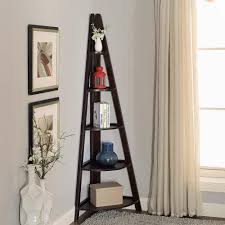 Corner Ladder Bookcase Linden 18 In W X 72 In H Espresso Corner Ladder Shelf Sk19107a
