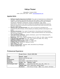 Resume Objective For Experienced Software Developer Resume Format For Experienced Software Tester Free Resume