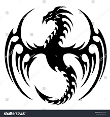 tribal chinese dragon tattoos vector illustration tribal dragon tattoo design stock vector