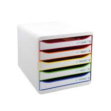 bannettes bureau rangement de bureau 5 tiroirs blanc