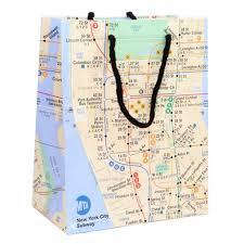 Mta Subway Map Nyc by Amazon Com New York Gift Bag Glossy Paper Subway Gift Bags 8
