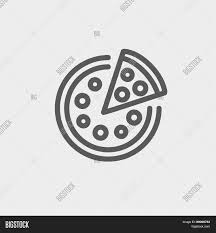 whole pizza with slice icon thin line for web and mobile modern