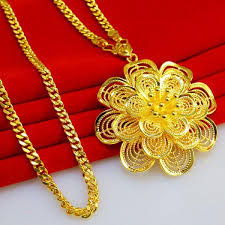 gold flowers necklace images Don 39 t rub off the gold necklace long sweater chain pendant flowers jpg