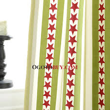 Green Kids Curtains Green Stripe And Red Star Modern Chic Best Kids Curtains No
