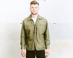 Green Parka Jacket Mens Khaki Windbreaker Etsy