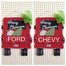 truck door hanger santa christmas tree ford chevy personalized