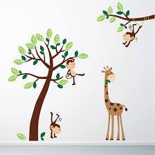 Giraffe Wall Decals For Nursery 20 Jungle Wall Decals Jungle Tree With Monkeys And Giraffe Wall