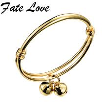 bracelet bangle size images Fate love classic accessories gold color bells open bangles size jpg