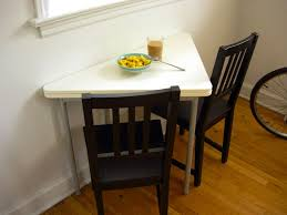 Narrow Dining Room Tables Furniture Triangle Shaped Small Dining Tables And Black Chairs