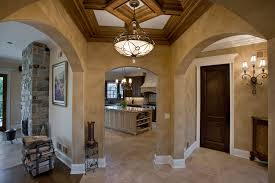 kitchen view with ceiling detailing french riviera inspired