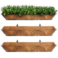 Garden Wall Troughs by 3pk Arcadia Coco Fiber Lined Wall Trough Wire Metal Leaf Basket