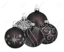 grey baubles isolated on white stock photo