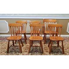 Country Dining Chairs 1950s Vintage Winchendon Furniture Solid Rock Maple Meeting