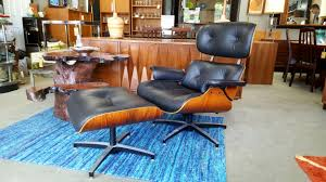 Black Chair With Ottoman Eames Style Lounge Chair With Ottoman In Black Leather And