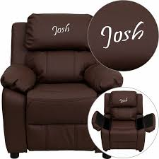 Toddler Recliner Chair Personalized Deluxe Kid S Recliner Upholstery Brown