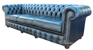 chesterfield 4 seater settee antique blue leather sofa offer 3
