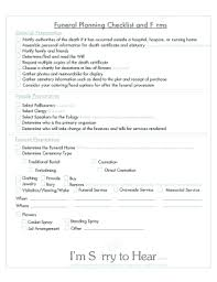funeral planning checklist fillable pre planning funeral checklist edit print