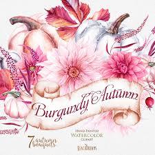 hand painted pumpkin halloween clipart pumpkin u0026 dahlias watercolor clipart burgundy autumn