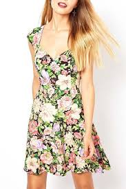 multi floral print cutout casual dress casual dresses women