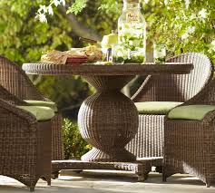 outdoor wicker dining table palmetto all weather wicker round pedestal dining table honey