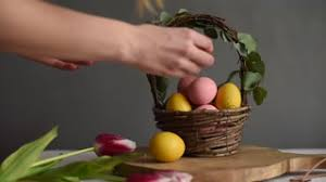 Easter Decorations Video by Rack Focus Of Basket With Easter Decorations Like Colorful Eggs