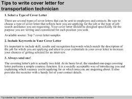 transport technician cover letter