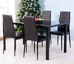 Dining Room Chairs Set Of 4 Merax 5pc Glass Top Dining Set 4 Person Dining Table