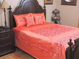 coral kashmir embroidery bedding set 5p floral sumptuous