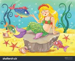 little mermaid fairy tale beautiful mermaid stock illustration