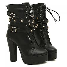 s boots with buckles fashion buckles and rivets design chunky heel boots for