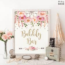 bubbly bar sign pink and gold boho bohemian bridal shower decor